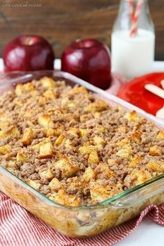 Overnight Cinnamon Apple Baked French Toast Casserole – Recipes To Know Baked French Toast Casserole, Best Breakfast Casserole, French Toast Bake, Breakfast Dishes, Breakfast Ideas, Breakfast Caseroles, Balanced Breakfast, Apfel French Toast, Baked Cinnamon Apples