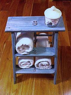 stepladder turned towel holder