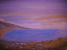Summer Night On The Coast. Sea scape, vivid colours, pretty purple.-Paintings, originals, editions, sensible prices,Janet Davies, Devon. www.janetdaviesartist.co.uk