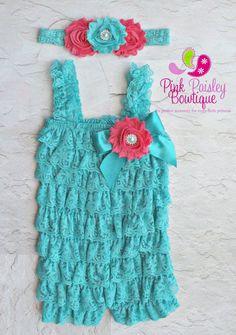 3 pc SET- Aqua Lace Petti Romper- Ruffle Rompers - Baby Romper - 1st Birthday Outfit - Baby Dress - Petti Rompers - Baby Headband Romper Set...