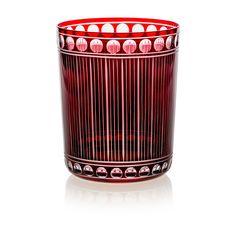 Handmade glass blown Medium Tumbler, Chronica-Ruby 1923, height: 100 mm | top diameter: 82 mm | volume: 330 ml | Bohemia Crystal | Crystal Glass | Luxurious Glass | Hand Engraved | Original Gift for Everyone | clarescoglass.com
