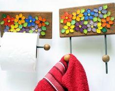 Cabideiro e Porta papel mosaico Floral