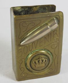 Antique WWI Trench Art - Brass Matchbook Holder. Loads more vintage items in the hospice's ebay shop www.shopatstfrancis.co.uk