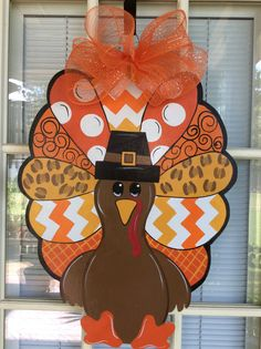 Front door decor turkey decorations thanksgiving by samthecrafter