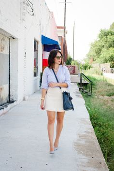 Madewell striped top and cream skirt outfit via @mystylevita [My Style Vita]