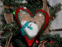 Snoozing Snowman Ornament Needlefelted on wool felt and burlap