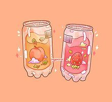 Jinyoung's Peach and Jb's Strawberry juice Aesthetic Drawing, Aesthetic Art, Aesthetic Anime, Cute Food Drawings, Cute Kawaii Drawings, Arte Do Kawaii, Kawaii Art, Japon Illustration, Cute Illustration