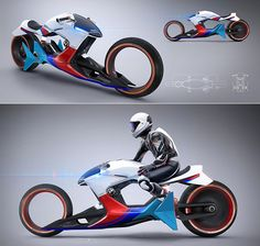 We present to you Sebastian Martinez' stunning i Motorrad BetaIR.      The motorcycle has asleek aerodynamic body, complete with Tron-inspired spo