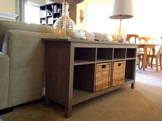 Ikea Hemnes Sofa Table for the hallway/ dining room $169.99 (also comes in Black/Brown) - shoe rack idea