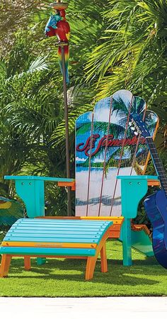 Our Margaritaville Adirondack Chair features everything you love about classic Adirondack furniture but with a tropical twist. | Margaritaville by Frontgate