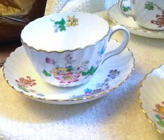 PAIR of Minton Vermont pattern S-365 hand-painted by BuyfromGroovy