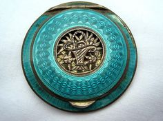 Vintage Turquoise Guilloche Enamel with Flower Basket Medallion Sterling Silver Compact