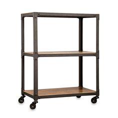 Loft Living Wood & Metal 3-Tier Rolling Cart