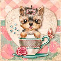 Teacup Yorkie - Digital Stamp