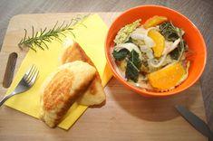Hühnergeschnetzeltes mit Orangen, Kohl und Kartoffel-Piroggi Orange, Thai Red Curry, Ethnic Recipes, Napa Cabbage, Recipes