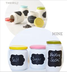 You need spray paint, clean glass jars with lids, and chalkboard labels. Apply three coats to each jar, allowing them to dry completely between coats. Stick label on. Done.