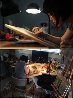 Artist at Work: Audrey Kawasaki - The Well-Appointed Desk Audrey Kawasaki, Artist Workspace, Art Studios, Design Studios, Artist At Work, Art School, Street Art, Inspiration, Office Items