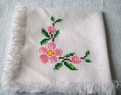Embroidery Cloth Napkins Springtime Flowers by VintagePlusCrafts Cross Stitch Borders, Cross Stitch Charts, Cross Stitch Designs, Cross Stitch Embroidery, Hand Embroidery, Cross Stitch Patterns, Palestinian Embroidery, Religious Cross, Flower Embroidery Designs