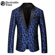 Mens Royal Blue Printed Blazer Pattern Slim Fitted Prom Blazers Men One Button Suit Jacket Stage Costumes For Singers DT080