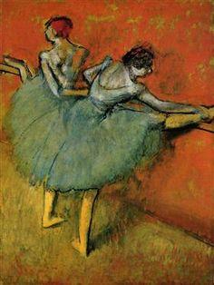 Danseuses à la barre by Edgar Degas. Edgar Degas was an Impressionist who's main subject was dance. Degas Ballerina, Ballerina Kunst, Edgar Degas, Renoir, Ballerine Degas, Monet, Degas Paintings, Degas Drawings, Phillips Collection