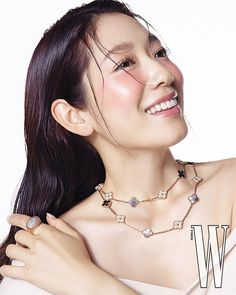Park Shin Hye Models Jewelry in a Sleek and Simple W Korea Pictorial | A Koala's Playground W Korea, Park Shin Hye, Jewelry Model, Korean Actresses, Korean Actors, Flower Boys, Party Looks, Messy Hairstyles, Photoshoot