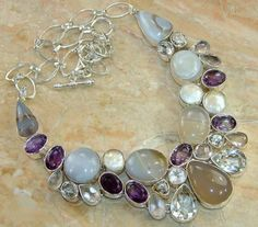 Agate, Amethyst, Rose Quartz, Topaz & Pearl Silver Necklace ...
