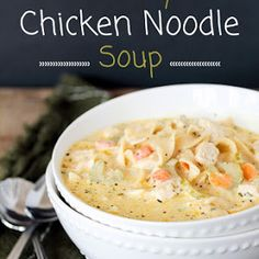 Slow cooker chicken noodle soup recipe food network kitchen creamy chicken noodle soup forumfinder Image collections