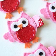 Hot Pink and Red Felt Owl Hair Clip - Cute Everyday Owl Felt Clippies - Birthday party favors. $3.50, via Etsy.