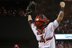 St. Louis Cardinals' Yadier Molina reacts after Game 6 of the National League baseball championship series against the Los Angeles Dodgers F...