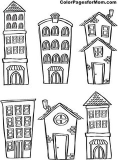 Drawing Doodles Sketches Set of building in doodle style Stock Photo More - - Millions of Creative Stock Photos, Vectors, Videos and Music Files For Your Inspiration and Projects. House Colouring Pages, Coloring Pages, House Doodle, Doodles, Doodle Inspiration, Fitness Inspiration, House Drawing, House Sketch, Doodle Drawings