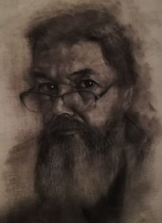 Self portrait in charcoal on canvas. #portrait #drawing #charcoaldrawing #art