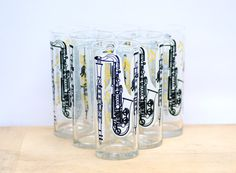 Vintage Drinking glasses set of 6 Retro musical by BaraWenVintage, £15.00