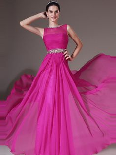 A-line Bateau Chiffon Beading Prom Dresses/Evening Dresses #BK609