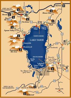 A collection of maps of Lake Tahoe for your vacation. From ski trail maps, to hiking trails, scenic stops and resort details. Listed are ski area trail maps, hiking trails, and details of the resorts. South Lake Tahoe, Lake Tahoe Map, Lago Tahoe, Tahoe Vista, Lake Tahoe Winter, Lake Tahoe Vacation, Ski Vacation, Lake Tahoe Skiing, Tahoe Ski Resorts