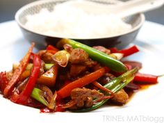 » Svinewok med paprika, eple og vårløk Kung Pao Chicken, Wok, Cooking Recipes, Beef, Asian, Ethnic Recipes, Red Peppers, Meat, Chef Recipes
