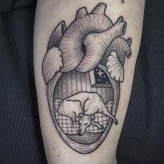 Heart dog tattoo