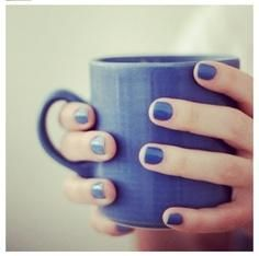 slightly navy blue nails and matching mug