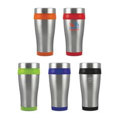 Aspen Thermal Mug - 350ml double wall thermal mug with a tough stainless steel outer wall, plastic inner wall and secure screw on lid. Not recommended for dishwasher use.