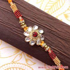 Kundan Studded Mouli Rakhi Handmade Rakhi Designs, Handmade Design, Send Rakhi To India, Buy Rakhi Online, Diy Flowers, Flower Diy, Rakhi For Brother, Tassel Necklace, Beaded Bracelets