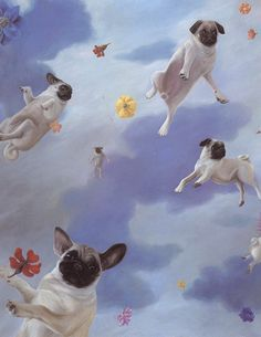 I don't know that this appeals to an artistic sense. but pugs floating around with flowers is pure genius. Wallpaper Pug, Animals And Pets, Cute Animals, Photo Animaliere, Fu Dog, Pug Art, Pugs And Kisses, Pug Pictures, Pug Love
