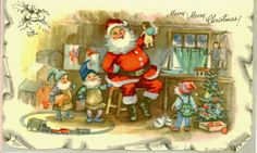 Vintage Christmas Card Santa Claus and Elves by TheVintageGreeting, $5.45