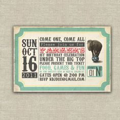 vintage circus invitations kids birthday by AmysStationeryShoppe Circus Birthday Invitations, Carnival Birthday, Invitations Kids, Carnival Parties, Ticket Invitation, Birthday Bash, Invites, Birthday Ideas, Birthday Parties