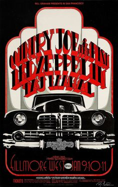 Led Zepplin - January 9th, 10th and 11th, 1969 - Filmore West, San Francisco, CA - Concert Poster #LedZeppelin #LedZep #Zep #ConcertPoster