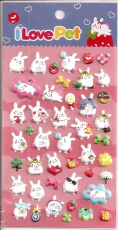 """Kawaii Korean Super Cute """"I Love Pet - Bunny Puffy Stickers - Perfect for scrapbooking, card-making, dairy, journaling, etc.. $2.85, via Etsy."""