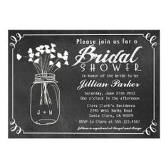 Chalkboard Mason Jar Bridal Shower Invitation #wedding #invitation