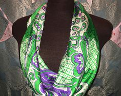 Vintage square purple and green Vera Neumann Scarf 22 x 22