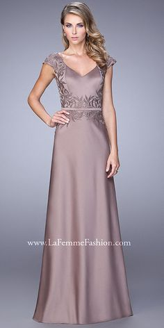 Vine like Cap Sleeve Evening Dress By La Femme
