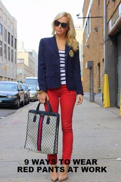9 WAYS TO WEAR RED PANTS OUTFITS AT WORK