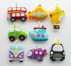 This kit contains everything needed to make your very own felt Transport Garland. A full set of 8 pastel decorations (London Bus, Submarine, Hot Air Balloon, Car, Tug Boat, Camper Van, Plane, Black Cab) to be used individually or strung along ribbon as a garland. If you would like a