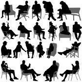 Set Of Sitting People Silhouette Royalty Free Cliparts, Vectors, And Stock Illustration. Image 8060238.